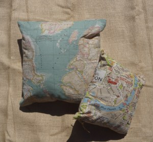 World map and London map cushions