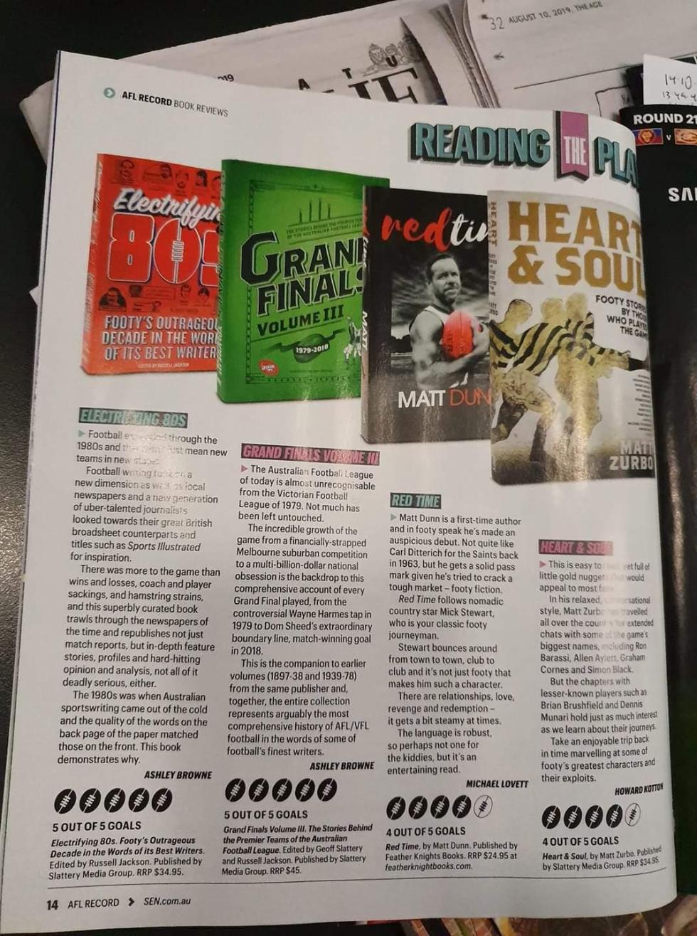 AFL, Footy Records, Book Review, Rave Reviews, Magazine, Crime Fiction, Footy Fiction, Sports