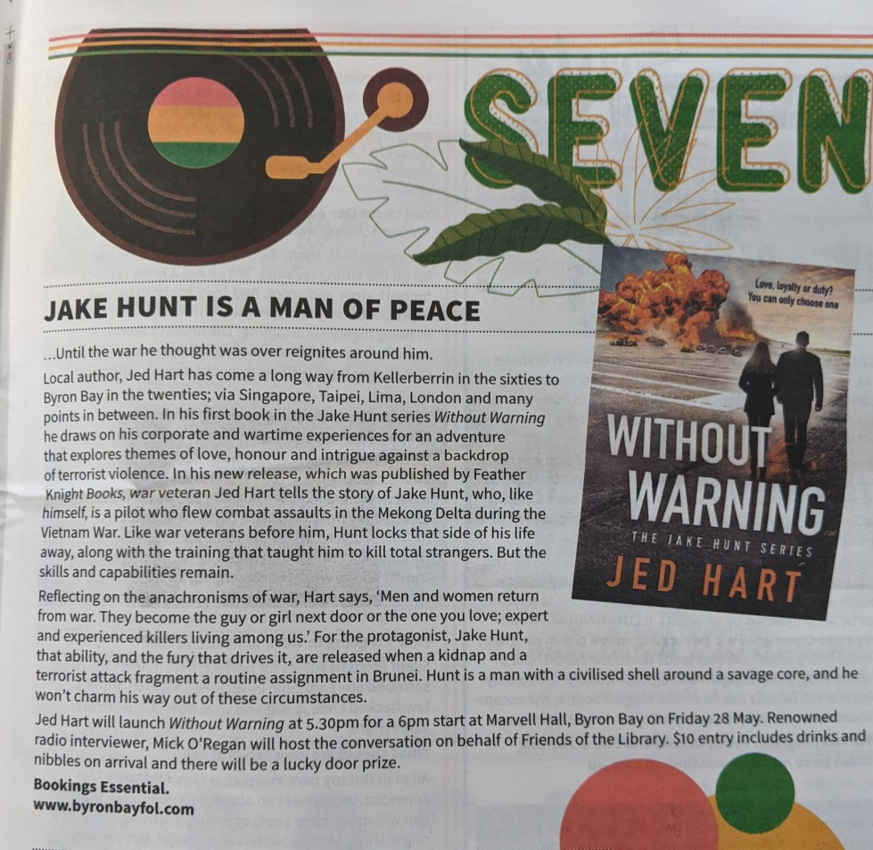 The Echo newspaper Byron Bat Press Release: Without Warning by Jed Hart. Action/Romance Novel. Australian Fiction.