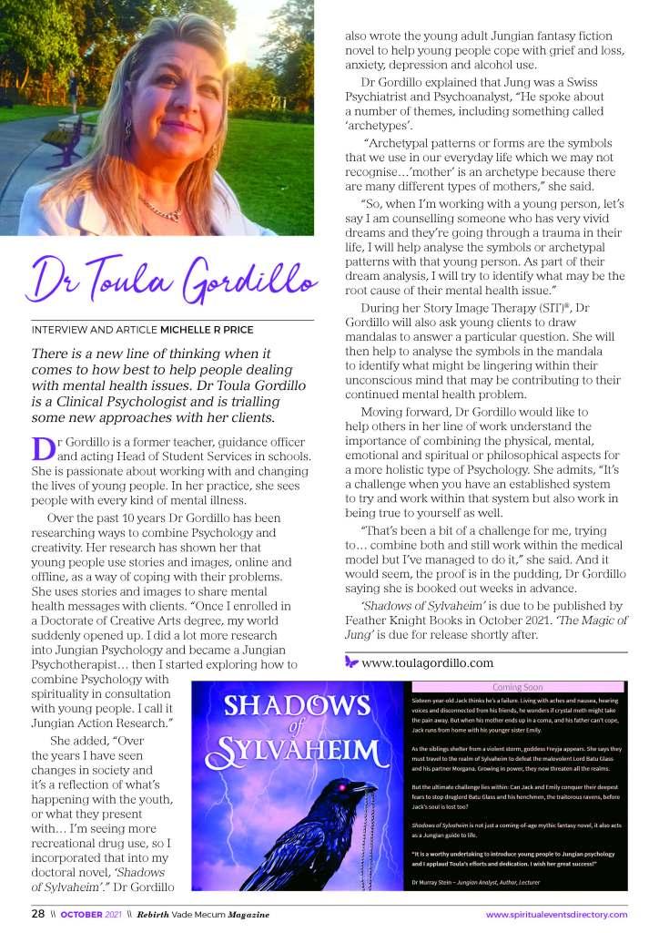 Rebirth Magazine Toula Gordillo author of Shadows of Sylvaheim
