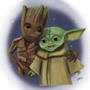 Baby Groot & Baby Yoda 8×10 Print