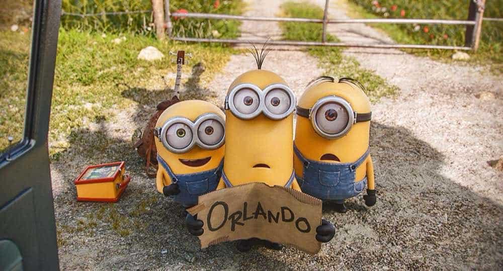 Minions Bob Stuart and Kevin hitch hiking to Orlando