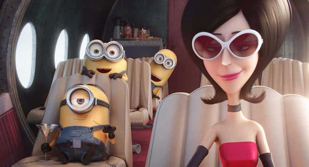 Minions Scarlet Overkill Bob Stuart and Kevin flying in her plane