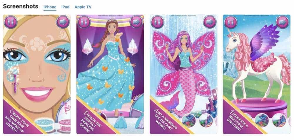 Barbie Magical Fashion app iphone screenshots