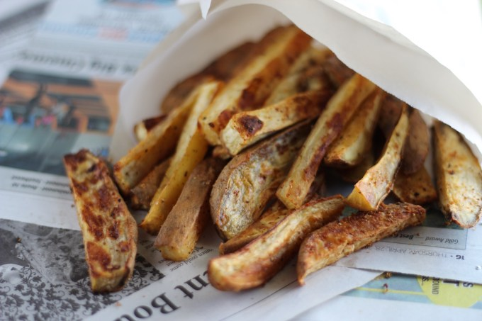 White Sweet Potato Oven Fries - thick-cut white sweet potato wedges are mixed with coconut oil and spices and baked to golden-brown goodness in the oven! Easy and so yummy! | fedandfulfilled.com