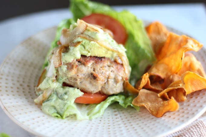 Stuffed Bacon Turkey Burgers - bacon-loaded turkey burgers are stuffed with dairy-free cheese and topped with caramelized onions and avocado ranch! TO DIE FOR! | fedandfulfilled.com