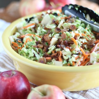 Apple Bacon Brussels Sprouts Salad - an AIP and Paleo Fall salad full of flavor from smoky bacon, sweet apples, dried cherries, and an apple cider bacon vinaigrette! | fedandfulfilled.com