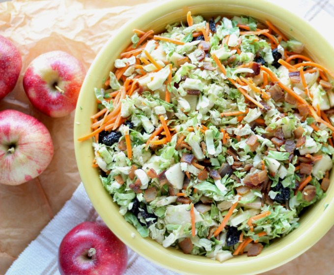Apple Bacon Brussels Sprouts Salad - an AIP, Paleo Fall salad complete with shredded sprouts, crispy bacon, sweet apples, and an apple cider bacon vinaigrette! | fedandfulfilled.com