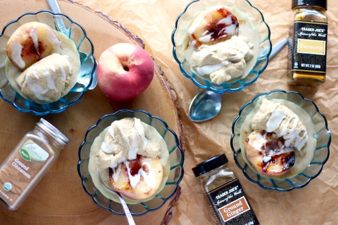 Grilled Peaches with Cinnamon Spice Ice Cream - an AIP and Paleo dessert that is gluten, dairy, and refined sugar-free! Healthy and delicious! | fedandfulfilled.com