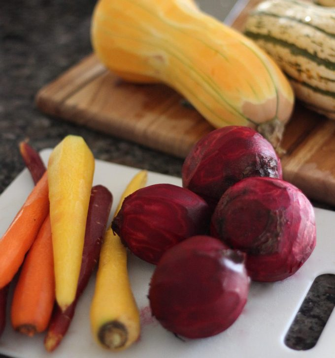 Roasted Rainbow Root Veggies - an easy Paleo, AIP side dish full of color and flavor from seasonal veggies, fresh sage, and balsamic vinegar! | fedandfulfilled.com