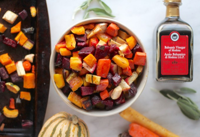 Roasted Rainbow Root Veggies - a simple, paleo side dish bursting with flavor from beets, carrots, parsnips, and squash! | fedandfulfilled.com