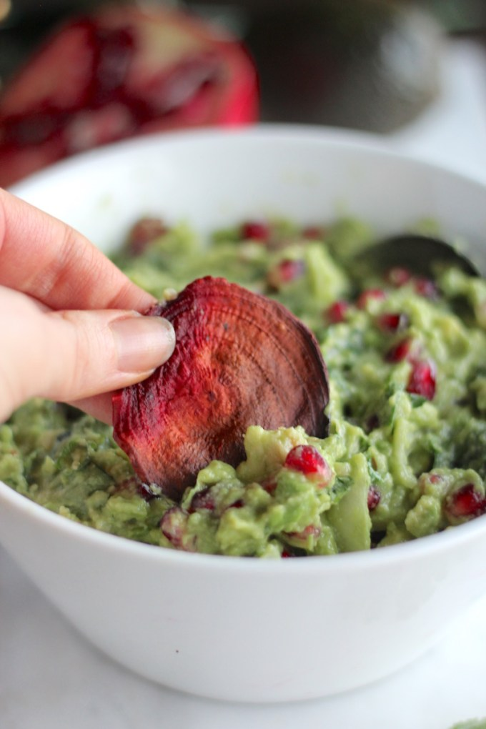 AIP Pomegranate Guacamole - a colorful, festive appetizer that is absolutely delicious! Plus, it's vegan and paleo! | fedandfulfilled.com