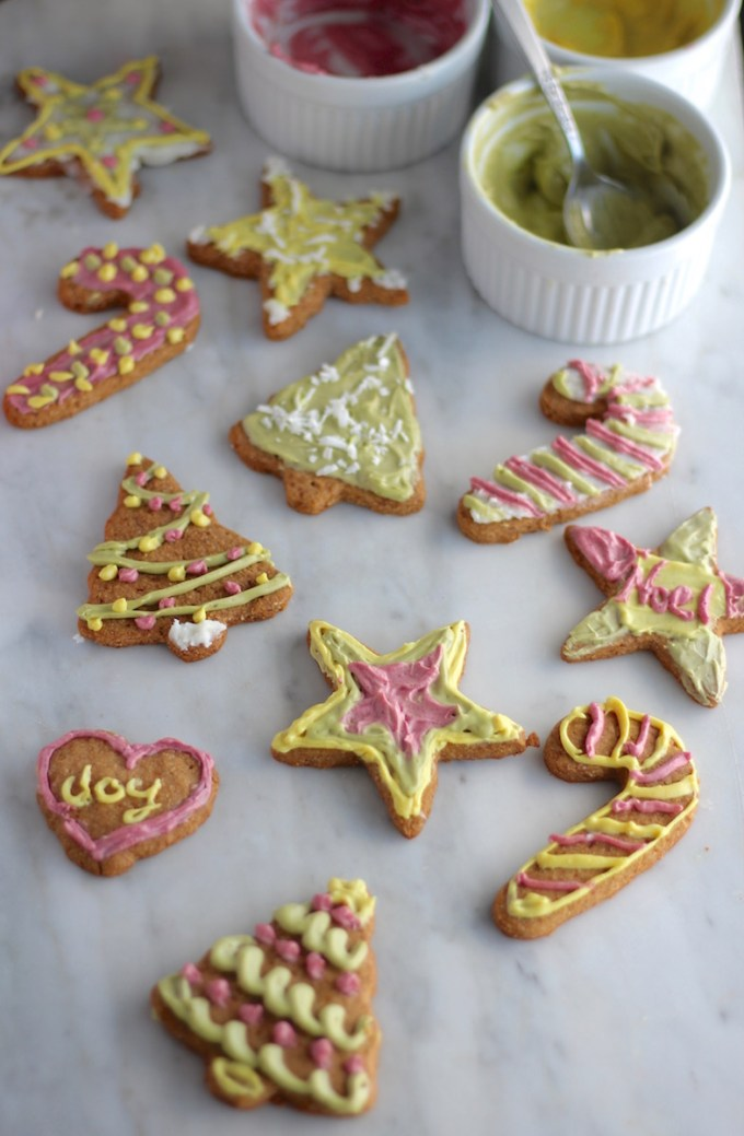 Frosted Cut-Out Sugar Cookies (AIP, Paleo, Vegan) - these healthy sugar cookies taste like honey grahams and are frosted with a dairy-free buttercream tinted with natural food powders! | fedandfulfilled.com