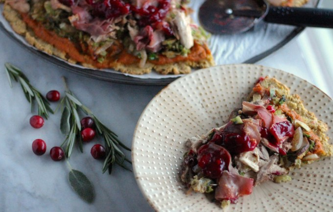 Turkey Cranberry Prosciutto Pizza (AIP, Paleo) - a delicious pizza recipe to use up holiday leftovers! Savory turkey and prosciutto are combined with sweet cranberry sauce for a winning pizza recipe! | fedandfulfilled.com