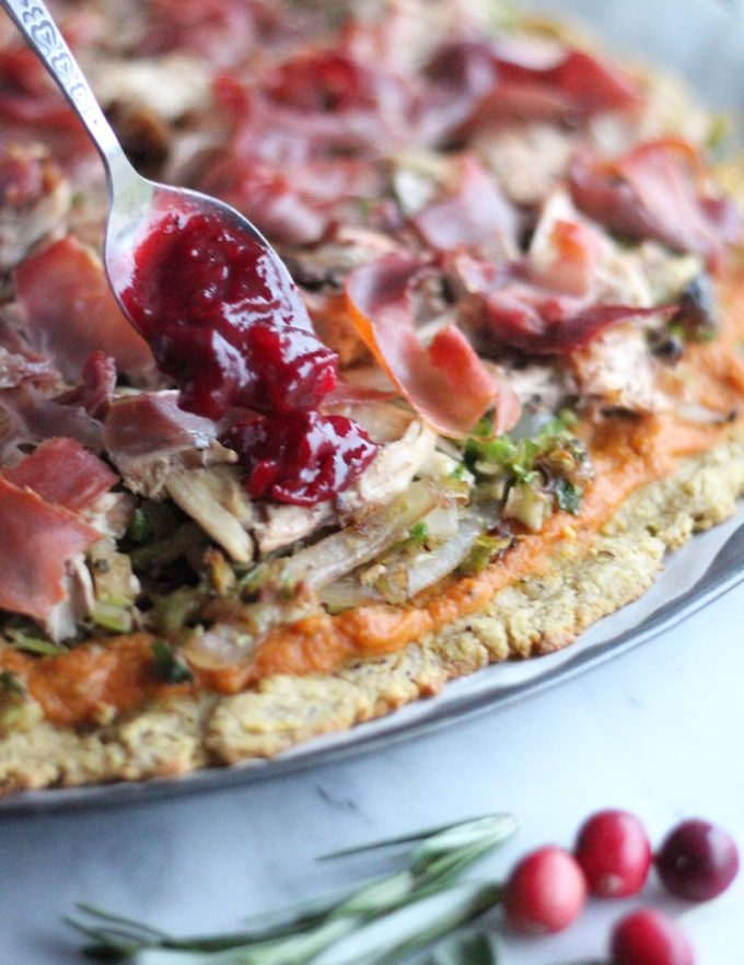 Turkey Cranberry Prosciutto Pizza (AIP, Paleo) - crispy prosciutto and creamy pumpkin sage sauce give Thanksgiving leftovers a makeover on this delicious pizza! | fedandfulfilled.com