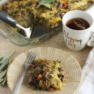 Egg-Free Breakfast Casserole (AIP, Paleo) - This easy, flavorful breakfast casserole is made egg-free thanks to healthy spaghetti squash and plenty of veggies, meat, and bone broth! | fedandfulfilled.com