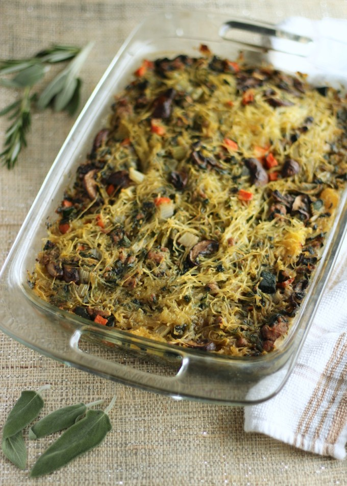 Egg-Free Breakfast Casserole (AIP) - a delicious and healthy egg-free breakfast alternative that is filled with veggies, pork, and spaghetti squash! So good! | fedandfulfilled.com