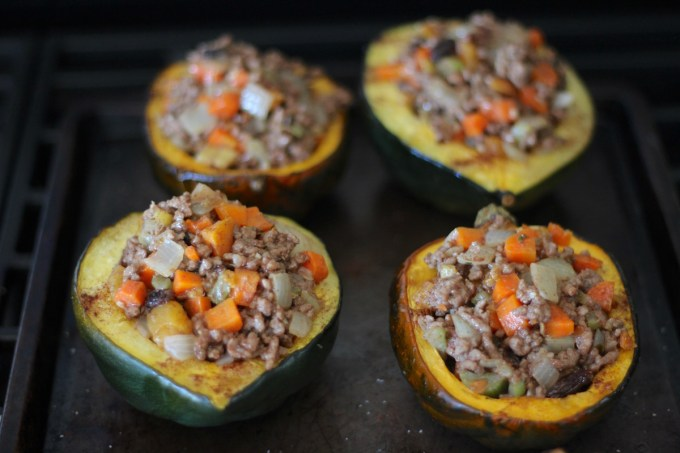 Paleo Moroccan Lamb Stuffed Squash (AIP) - tender roasted squash is stuffed with a sweet and savory lamb and fruit filling for an exotic, yet easy main course! | fedandfulfilled.com