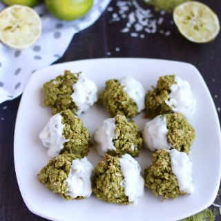Paleo Matcha Lime Macaroons (AIP) - these pretty green treats are packed with coconut and hints of lime, honey, and matcha green tea! A healthy and delicious cookie! | fedandfulfilled.com