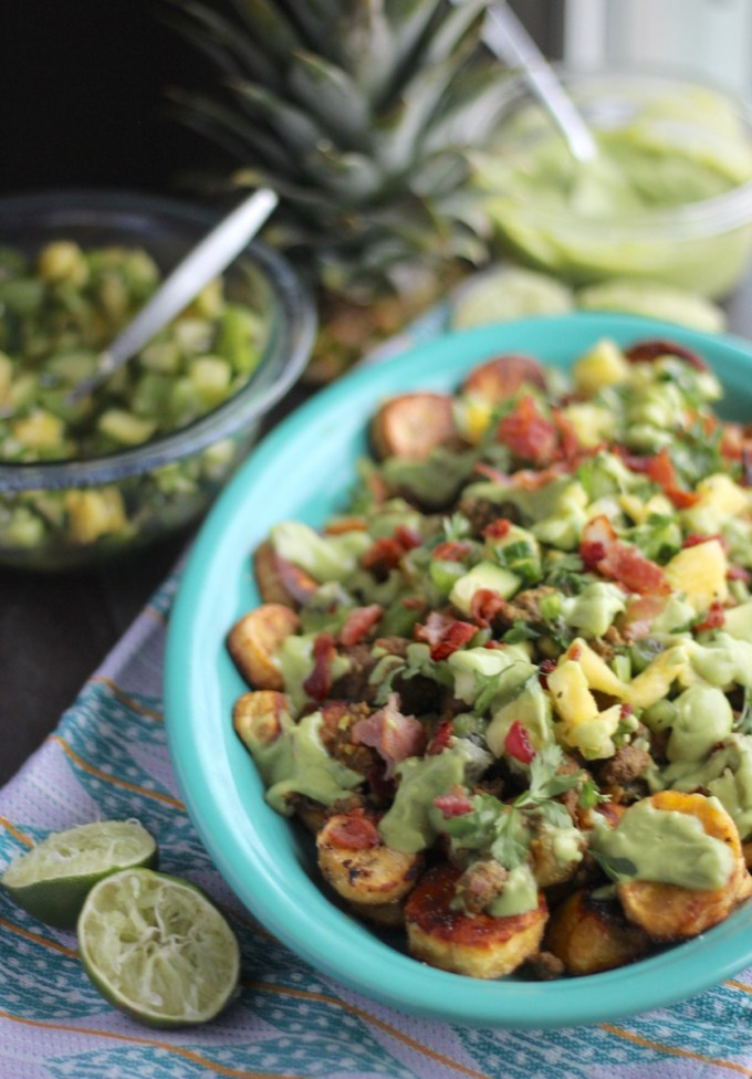 Loaded Tropical Plantain Nachos (AIP, Paleo) - a refreshing, tropical take on nachos, featuring plantains, pineapple kiwi salsa, and avocado lime crema! | fedandfulfilled.com