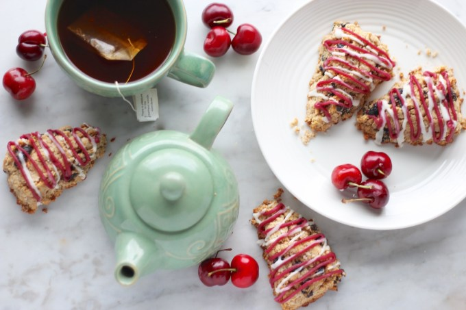 Paleo Frosted Cherry Scones (AIP) - heavenly cherry coconut butter scones are drizzled with two tasty frostings for a delicious treat to enjoy with your tea! | fedandfulfilled.com