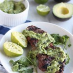 Grilled Steak with Creamy Chimichurri Sauce (AIP, Paleo) - juicy grilled steak is topped with an avocado herb sauce that is incredibly delicious! | fedandfulfilled.com