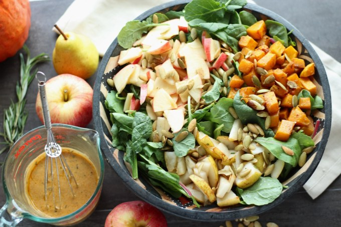 Fall Harvest Salad with Creamy Pumpkin Dressing (AIP, Paleo) - a delicious, healthy salad for the transition from Summer to Fall! | fedandfulfilled.com
