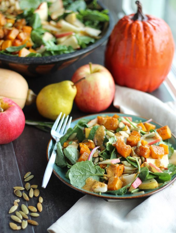 Fall Harvest Salad with Creamy Pumpkin Dressing (AIP, Paleo) - a perfect dish for the warm days of early Fall, filled with roasted squash, apples, pears, and pumpkin seeds! | fedandfulfilled.com