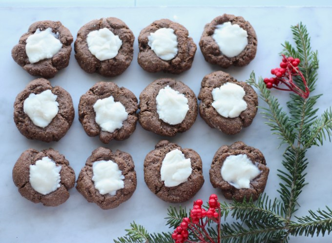 AIP Chocolate Mint Thumbprint Cookies (Paleo) - soft, thick carob cookies tastes just like chocolate and are filled with creamy peppermint frosting! | fedandfulfilled.com