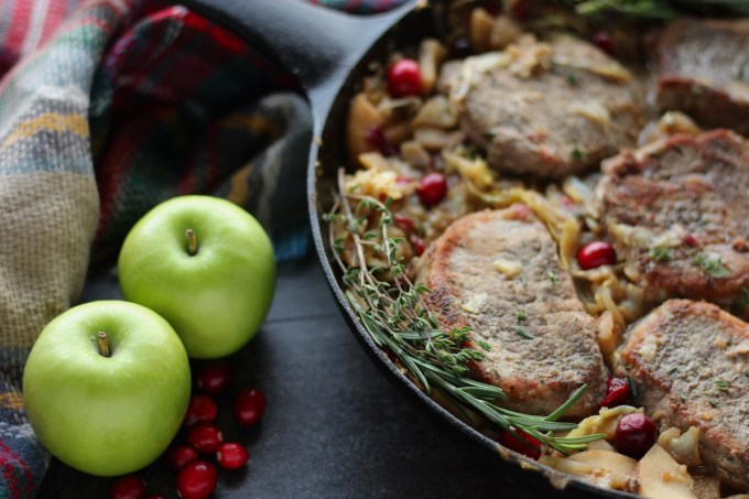 Apple Cranberry Skillet Pork Chops (AIP, Paleo) - a colorful, flavorful take on pork chops, loaded with apples, cranberries, onions, and cabbage for a sweet and savory meal! | fedandfulfilled.com