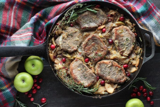 Apple Cranberry Skillet Pork Chops (AIP, Paleo) - this delicious and easy pork dish features sweet apples, tart cranberries, savory onions and cabbage! | fedandfulfilled.com