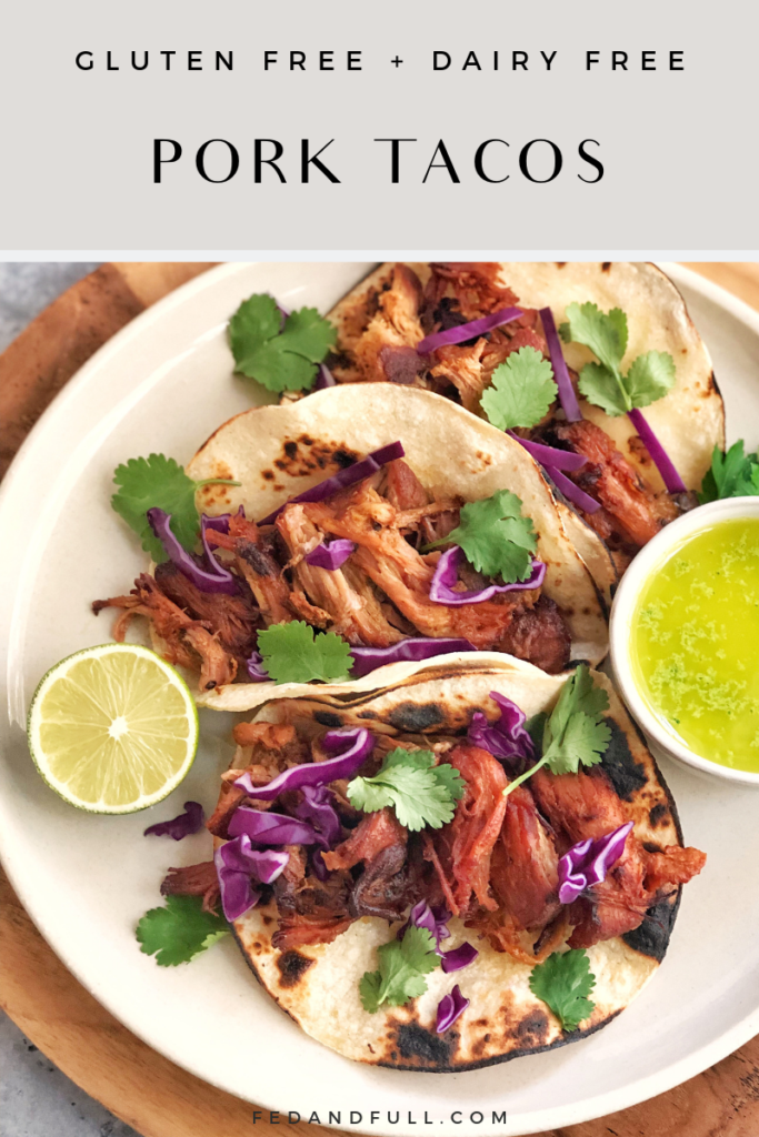MEXICAN SLOWCOOKER CITRUS PORK TACOS WITH CHARRED CORN TORTILLAS, SHREDDED RED CABBAGE AND FRESH CILANTRO BY FED & FULL