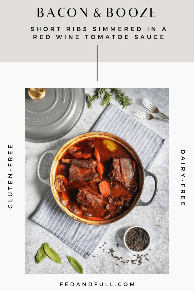 Red Wine Braised Short Ribs in baking pan