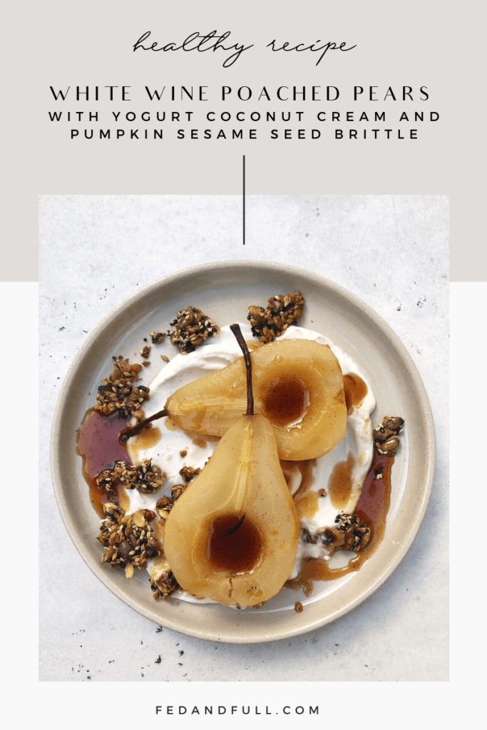 White wine poached pears with seed brittle