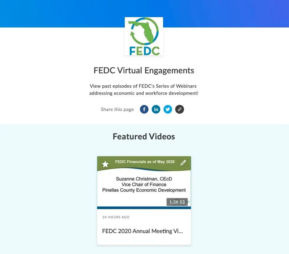 Screenshot of FEDC Webinar video channel