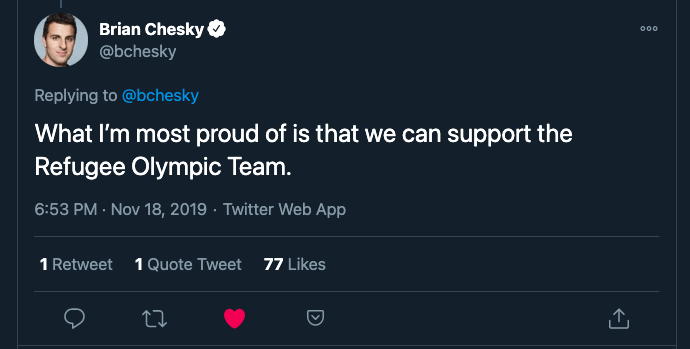 Brian Chesky Twitter What I'm most proud of is that we can support the Refugee Olympic Team