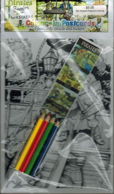 Color-In Postcards Pirates