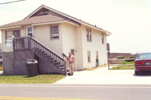 The author in front of Hewett Family Home. 833 S Ft. Fisher Blvd  Fort Fisher, NC (around 1994)