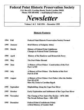 1994-1995 Newsletter Historic Features