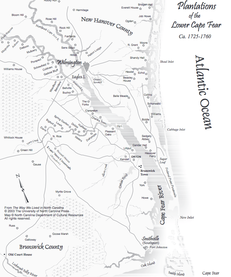 Map - Plantations of Lower Cape Fear