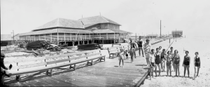 The Carolina Beach pavilion in 1934 stood almost alone on the beach strandLouis T. Moore Collection, NHC Library