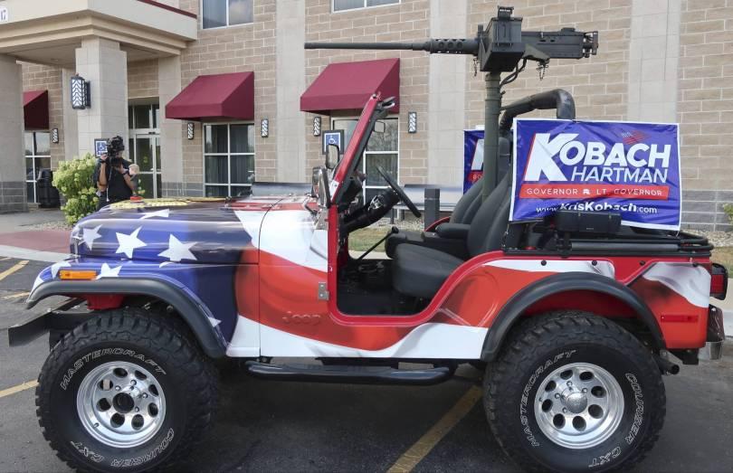 Election 2018 Kansas Governor Jeep With Gun 25090 - The Latest: Kansas town won't block Kobach's gun on jeep