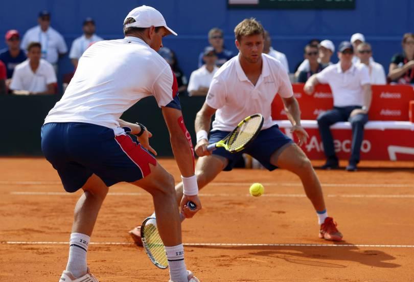 Croatia Tennis Davis Cup 22518 - Bryan's return from Davis Cup retirement helps keep US alive