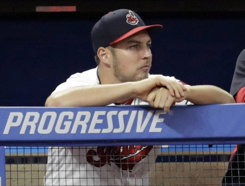 Indians Bauer Baseball 70706 - Indians' Bauer throws off mound, closer to comeback