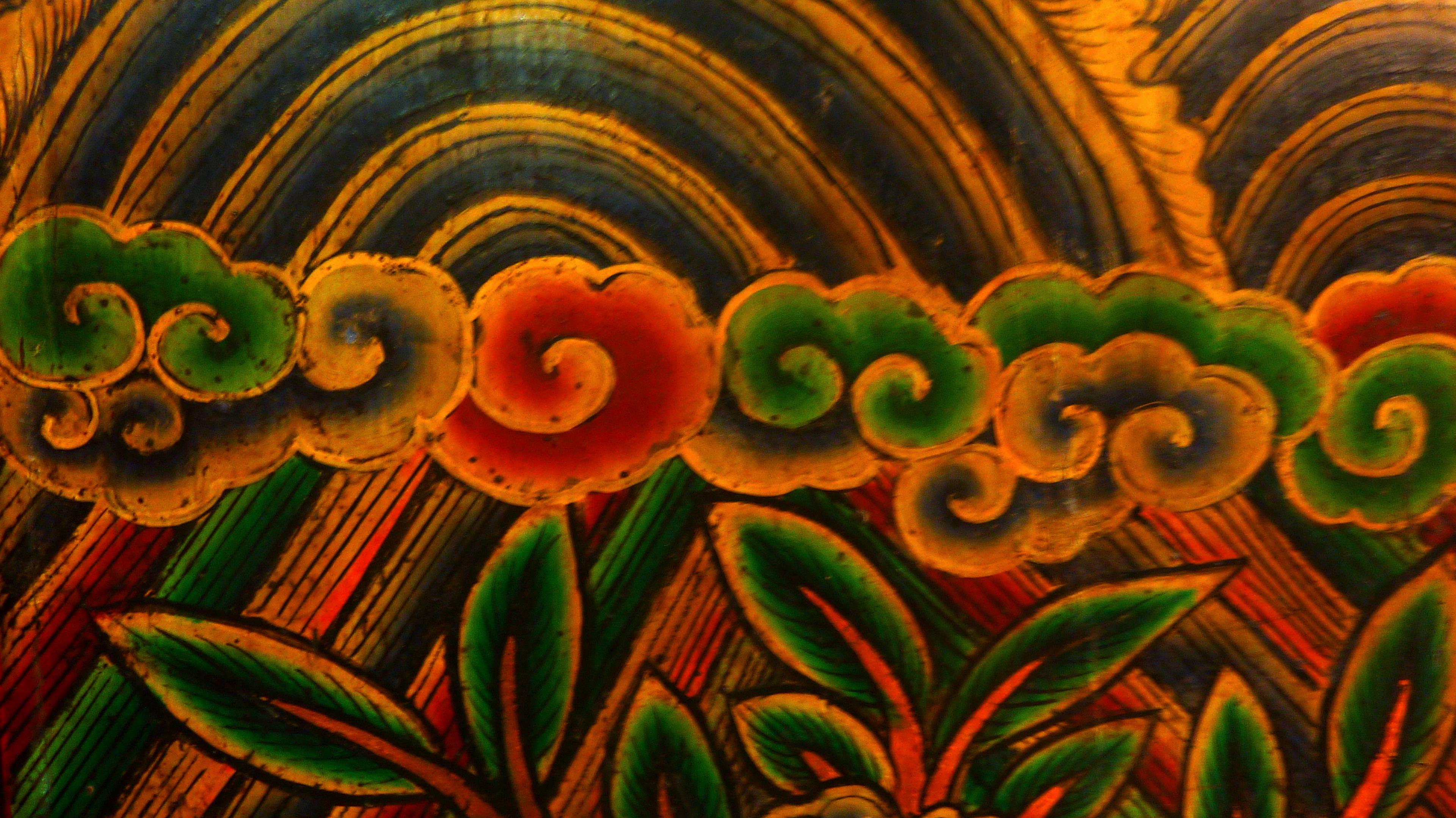 Extrait d'une fresque d'un temple taoïste à Taïwan représentant des nuages et un arc-en-ciel