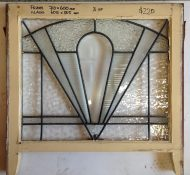 Art deco leadlight window in frame, clear/textured glass frame w710 x h600mm; glass w605 x h505mm $220