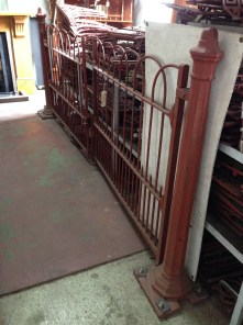 Very early original Victorian driveway gate pair with cast iron posts. Made in Adelaide. approx. gate opening w 2700mm x h 1120mm, Outside posts approx w 3200mm x h1270mm. Grit blasted and coated with structural primer $2450