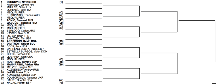 Roland Garros 2015 Draw 1:4