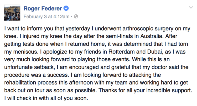 Roger Federer Undergoes Knee Surgery