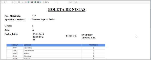 Reporte de Boleta de Notas
